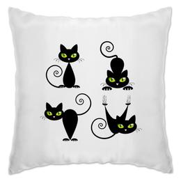 "Подушка ""Кошки 7"" - рисунок, кошки, зелёные глаза, чёрная кошка"