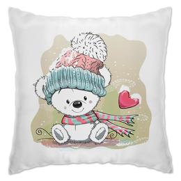"Подушка ""Медвежонок"" - юмор, зима, рисунок, мультяшка, медвежонок"
