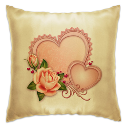 "Подушка ""Сердца"" - сердце, любовь, роза"