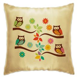 """Подушка """"В гостях у сказки"""" - птицы, сова, цветы, дерево, весна"""