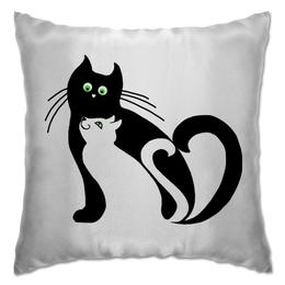 """Подушка """"котэ-парочка"""" - сладкая парочка, в подарок, чёрный кот, мартовские коты"""