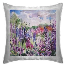"""Подушка """"Lupines field"""" - арт, цветы, пейзаж, акварель, люпин"""