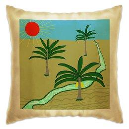 """Подушка """"Три пальмы. Рисунок. Природа"""" - путешествия, пальмы, юг"""