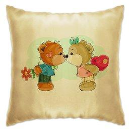 "Подушка ""Я люблю..."" - сердце, поцелуй, день валентина, день влюблённых, мишка тэдди"