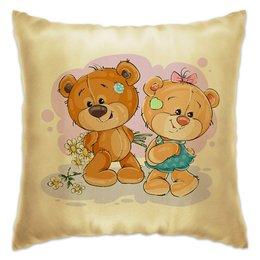 """Подушка """"Влюблённые медвежата"""" - день влюблённых, дружба, цветы, сердце, любовь"""