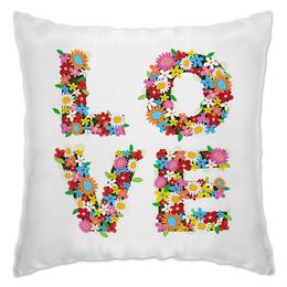 """Подушка """"Любовь"""" - сердце, цветы, 14 февраля, день влюбленных"""