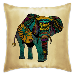 "Подушка ""Индийский Слон"" - узор, слон, абстракция, индия"