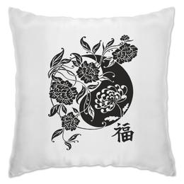 """Подушка """"Инь и Янь из цветов"""" - арт, иероглифы, символы счастья, сергей ивкин, фэншуй"""