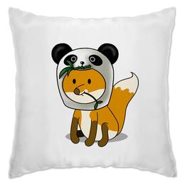 "Подушка ""Лисенок в шапочке котика и панды"" - кот, панда, лисенок, пандизм, котизм"