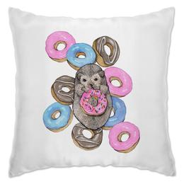 """Подушка """"Ежик сладкоежка"""" - голубой, сладости, ежик, акварель, пончики"""