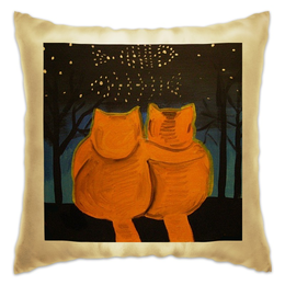 "Подушка ""Cats in love"" - love, cats, котики, про любовь, ложкин"