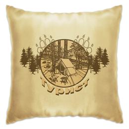 """Подушка """"Турист"""" - палатка, лес, деревья, стул, стол"""