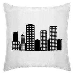 """Подушка """"Мой год"""" - город, дома, иллюстрация, монохром, my city"""