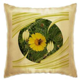 """Подушка """"Медовое солнце."""" - цветок, солнце, насекомое, насекомое на цветке, макро мир"""