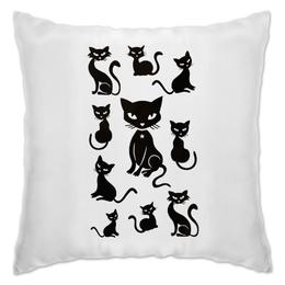 "Подушка ""Кошки"" - рисунок, кошки, графика, чёрный кот"
