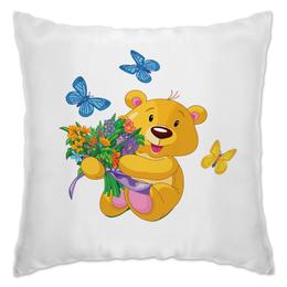 "Подушка ""Мишка и букет"" - бабочки, цветы, медведь, мишка, игрушки"