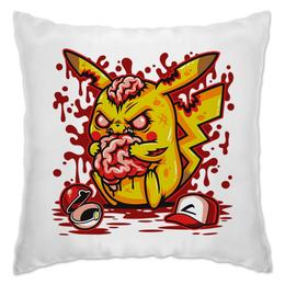"Подушка ""Pikachu Blood"" - мозг, zombie, зомби, покемон, пикачу"