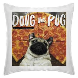 "Подушка ""Мопс и пицца"" - pug, пицца, мопс, pizza"