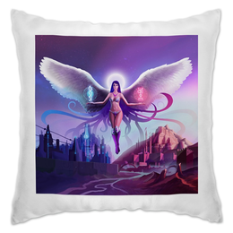 """Подушка """"Ангел прошлого и будущего"""" - крылья, ангел, руны, будущее"""