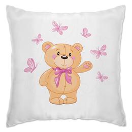 "Подушка ""Мишка и бабочки"" - бабочки, цветы, медведь, мишка"