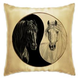"""Подушка """"Инь-Янь """" - арт, рисунок, в подарок, лошади, horse, 2014, new year"""
