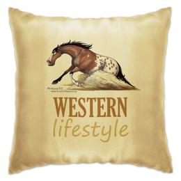 "Подушка ""WESTERN LIFESTYLE"" - лошадь, конь, вестерн, рейнинг"