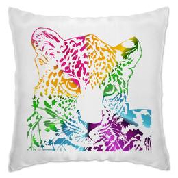 """Подушка """"Радужный леопард"""" - кошка, радуга, цвета, ярко, леопард"""
