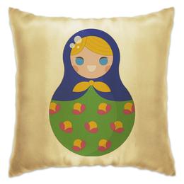 "Подушка ""Матрёшка"" - матрёшки, матрёшка, расписная кукла, цветочки, цветы"