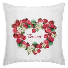 """Подушка """"Сладкое сердце"""" - сердце, лето, клубничка, клубнички ягодки, красные ягоды"""