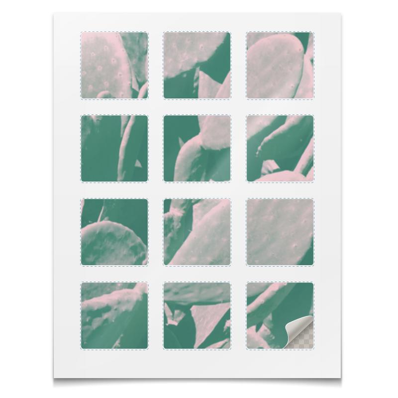 Наклейки квадратные Printio Наклейки кактус