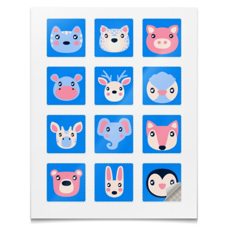 Наклейки квадратные Printio Cute animals msmo cute animals backpack cartoon pu