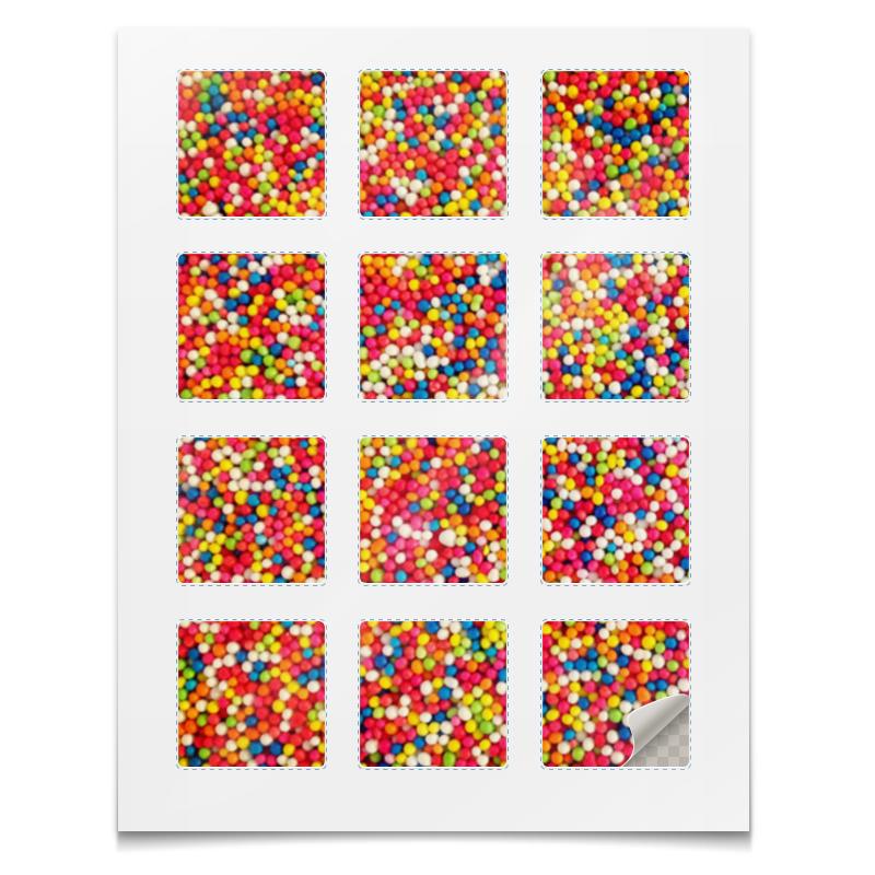 Наклейки квадратные Printio Наклейки цветная посыпка