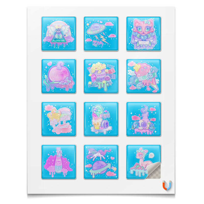 Фото - Наклейки квадратные Printio Тумблер стикеры стикеры для стен melestore mqt410