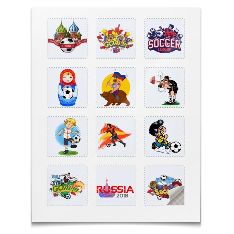 Наклейки квадратные Printio Футбол jd коллекция три наклейки футбол звезды наклейки