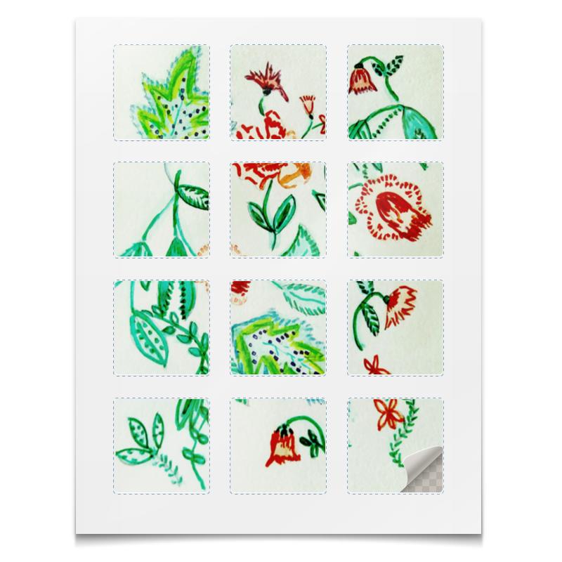 Наклейки квадратные Printio Дикие цветы пуф 370 370 440мм цветы