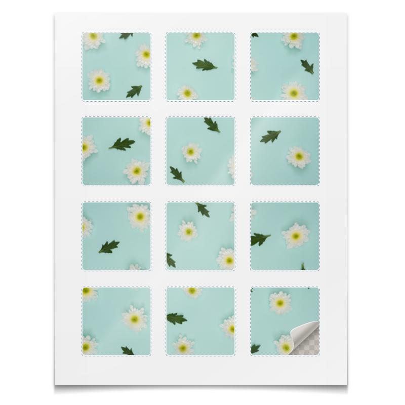 Наклейки квадратные Printio Наклейки цветы