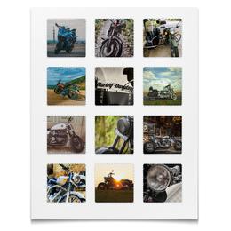 """Наклейки квадратные """"Наклейки Мотоциклы"""" - harley davidson, двигатель, байкер, мотоцикл, космос"""