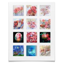 """Наклейки квадратные """"Акварельные цветы,сказки,смешные персонажи"""" - цветок, розы, смешной, нежный, картина акварелью"""