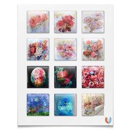 """Наклейки квадратные 5x5см """"Акварельные цветы,сказки,смешные персонажи"""" - цветок, смешной, нежный, картина акварелью, букет цветов"""