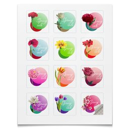 """Наклейки квадратные 5x5см """"Коллекция Цветы"""" - цветы, весна, яркие, акция, наклейки"""