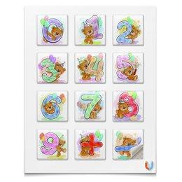 """Наклейки квадратные 5x5см """"Математические"""" - детский, медвежонок, математика, цифры, учебный"""