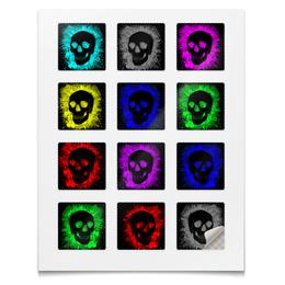 """Наклейки квадратные 5x5см """"Наклейки Череп Краска"""" - череп, гранж, кровь, панк, кляксы"""