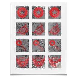 """Наклейки квадратные """"Наклейки RED'S Logo"""" - red, мотоцикл, байкер, шестерёнки, механика"""