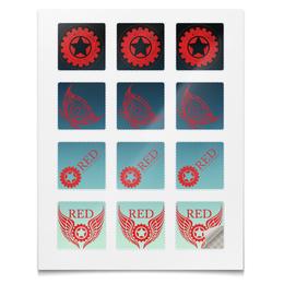 """Наклейки квадратные """"Наклейки RED'S Logo"""" - мотоцикл, байкер, шестерёнки, механика, red"""
