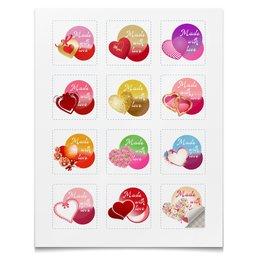 """Наклейки квадратные 5x5см """"Коллекция Сердца"""" - сердце, с любовью, наклейки, стикеры, сделано с любовью"""