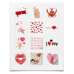 """Наклейки квадратные 12 шт """"ЛЮБОВЬ"""" - сердца, сердце, любовь"""