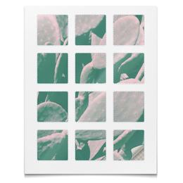 """Наклейки квадратные 5x5см """"Наклейки Кактус"""" - цветы, абстракция, растения, кактус, суккулент"""