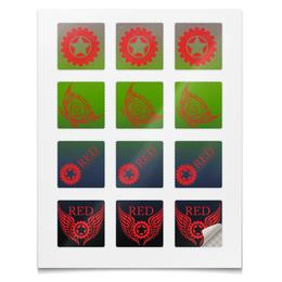 """Наклейки квадратные """"Наклейки RED'S Logo"""" - red, мотоцикл, байкер, механика, шестерёнки"""