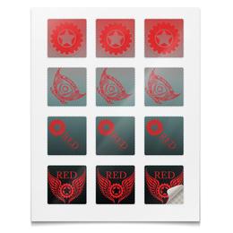 """Наклейки квадратные 5x5см """"Наклейки RED'S Logo"""" - red, мотоцикл, байкер, механика, шестерёнки"""