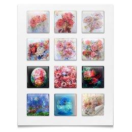 """Наклейки квадратные """"Акварельные цветы,сказки,смешные персонажи"""" - цветок, вишня, смешной, картина акварелью, букет цветов"""